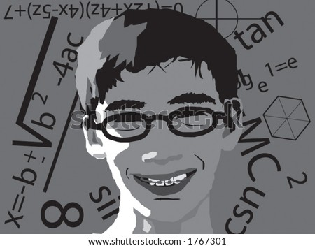 geek boy vector with math signs