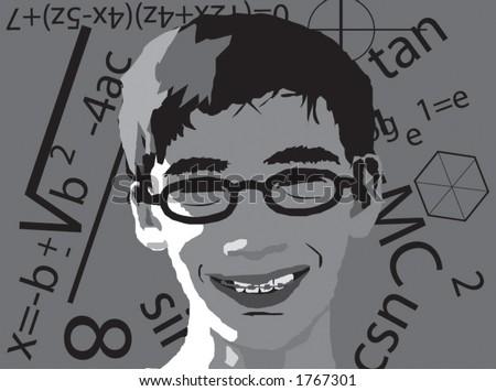 geek boy vector with math signs - stock vector