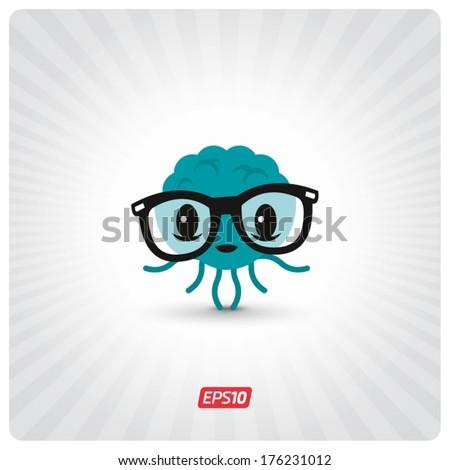 Geek brain character - stock vector