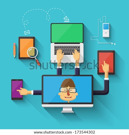 Geek character working on devices. Vector illustration - stock vector