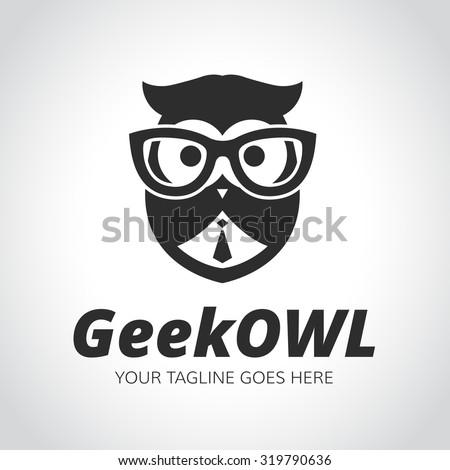 Geek logo,owl,owl logo,learning,education,geek owl,vector logo template - stock vector