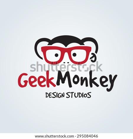 Geek monkey Vector Logo Template - stock vector