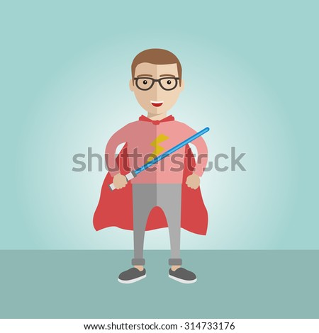 Geek superhero boy with the sword and a cape  - stock vector