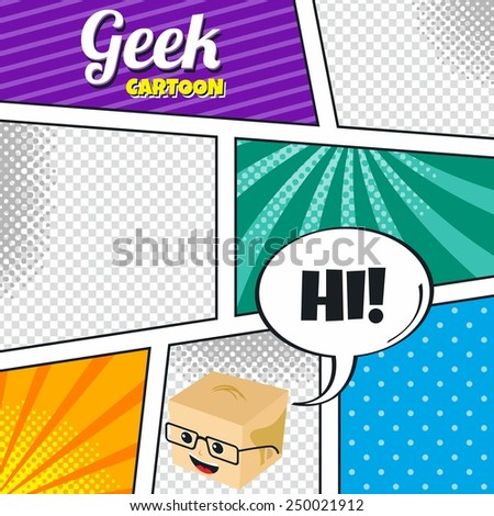 geek with glasses cartoon character theme comic template halftone art  - stock vector