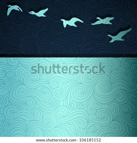 Geese flying above lake, vector eps8 illustration - stock vector