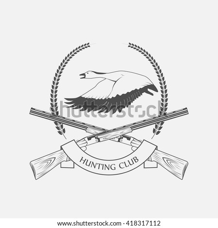 geese hunting icon - stock vector