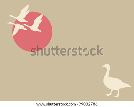 geese on brown background, vector illustration - stock vector