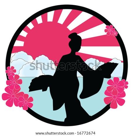 geisha - stock vector
