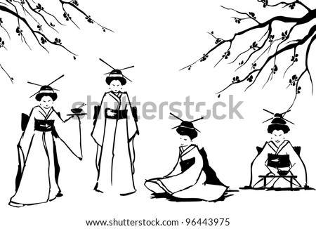 Geisha and sakura. Vector. Eps 8. - stock vector
