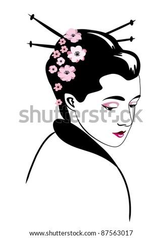 Geisha ( stylized vector illustration) - stock vector