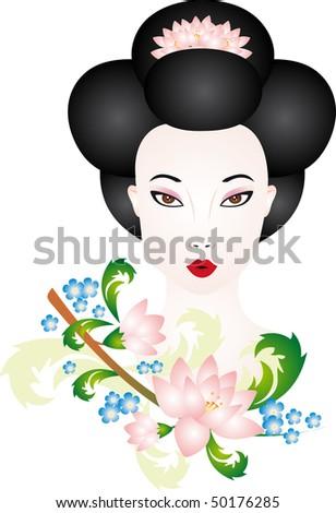 Geisha vector - stock vector
