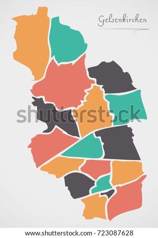 Gelsenkirchen Map Boroughs Modern Round Shapes Stock Vector