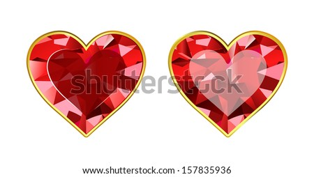 Gem Hearts - stock vector