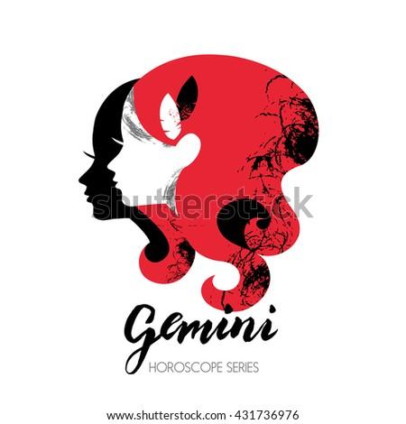 Gemini zodiac sign. Beautiful girl silhouette. Vector illustration. Horoscope series - stock vector