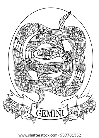Magic horn crescent moon metal armor stock vector for Gemini coloring pages