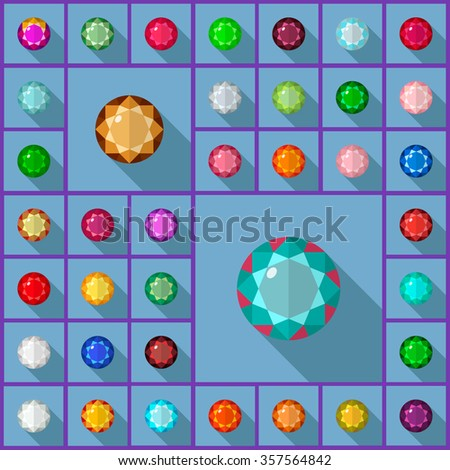 Gems icons set. Flat vector design with long shadow.