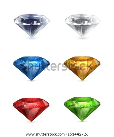Gems set of vector icons - stock vector