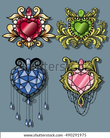 Gemstone Heart Set Gem Diamond Traditional Stock Vector ...