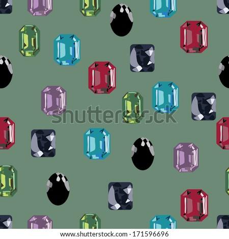 gemstone jewellery seamless collection - stock vector
