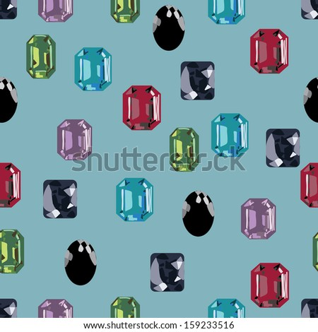 gemstone jewelry seamless treasure collection background - stock vector