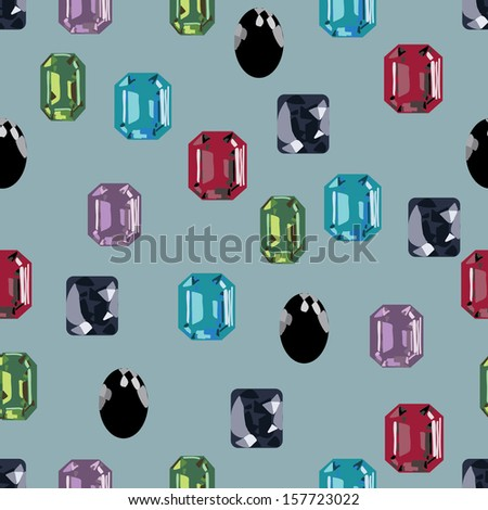 gemstone seamless treasure hunt pattern - stock vector