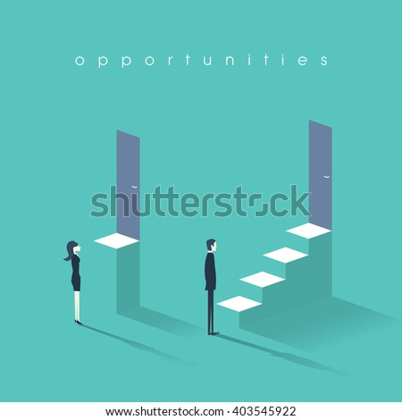 Gender equality concept with man versus woman symbol. Businessman vs businesswoman inequality in career and professional life. Eps10 vector illustration. - stock vector