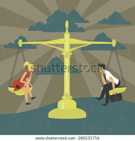 Gender equality of man and woman on a balance Illustration of a man and one woman thinking on a balance in a concept of gender equality. The grunge texture is removable from the background. - stock vector