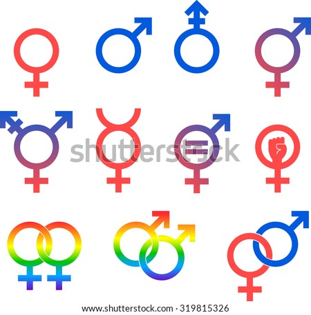 Gender Icons. Set of vector graphic images representing the universal symbols for gender and sexuality. - stock vector