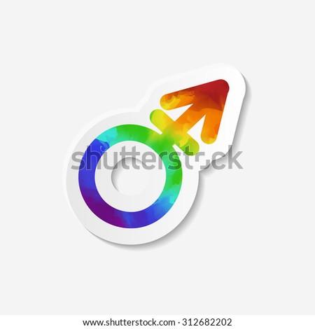 Gender identity icon. Transgender symbol. Sticker with watercolor effect. Vector illustration. - stock vector