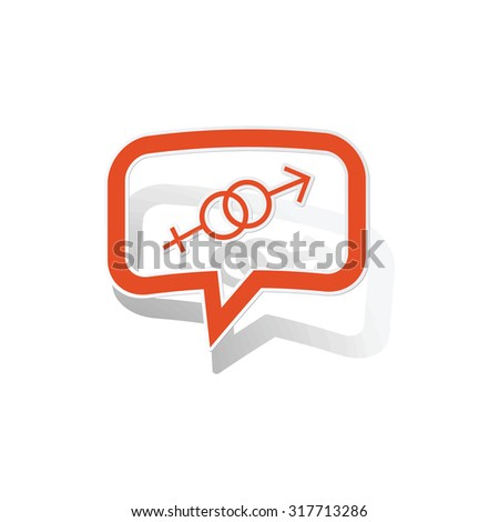 Gender message sticker, orange chat bubble with image inside, on white background - stock vector