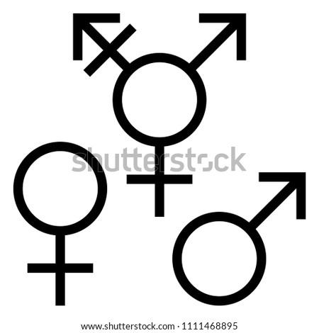 Gender Symbols Black White Gender Symbols Stock Vector 1111468895