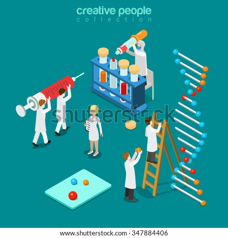 Gene engineering chemical pharmaceutics flat 3d isometry isometric concept web vector illustration. Genetic lab micro people syringe DNA chain test tube pipette doctor. Creative people collection. - stock vector