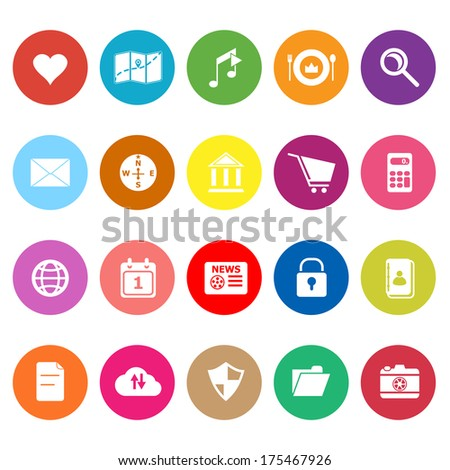 General application flat icons on white background, stock vector - stock vector