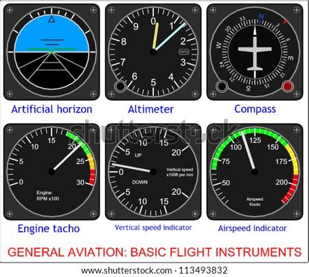 General aviation, basic flight instruments - stock vector