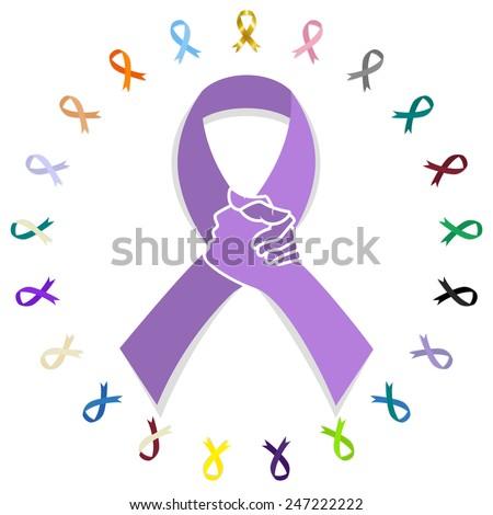 General cancer awareness ribbon concept, solidarity, vector illustration - stock vector