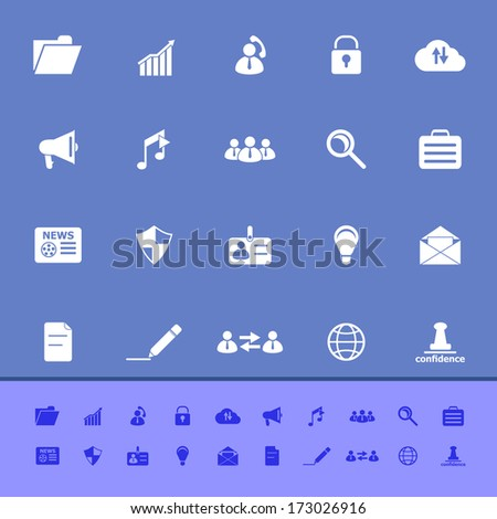 General document color icons on blue background, stock vector