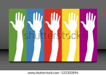 General election voting hands with political party colours. - stock vector