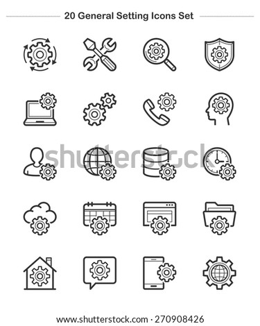 General Setting Icons Set, line icon, Vector illustration - stock vector