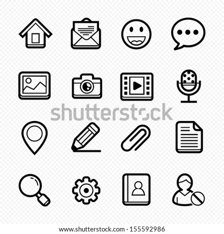 General Website line Icons on white background - Vector illustration - stock vector