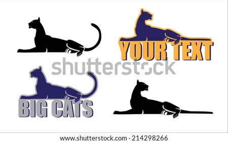 generalized collective image of the big cats - stock vector