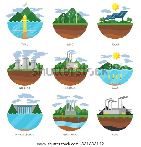 Generation energy types. Power plant icons vector set. Renewable alternative, solar and tidal, wind and geothermal, biomass and wave illustration - stock vector