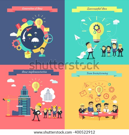 Generation of ideas banners set. Brainstorming team implementation idea banner, teamwork get successful achievement of startup, business inspiration with creativity innovation. Vector illustration - stock vector