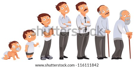 Generations men. All age categories - infancy, childhood, adolescence, youth, maturity, old age. Stages of development. Vector illustration - stock vector