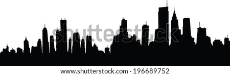 Generic cartoon skyline silhouette of a large city.