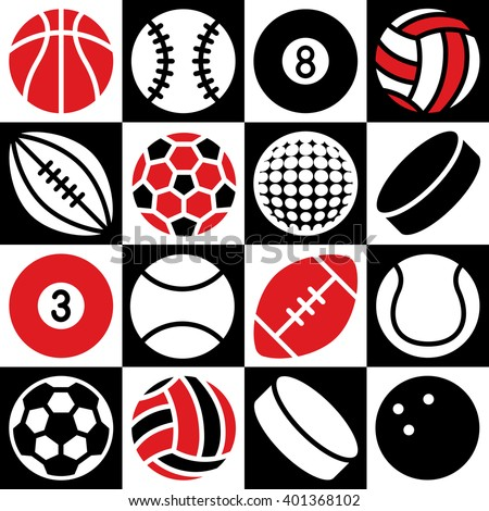 Generic game ball icons on a red, black and white checkered background. Can also be used as a seamless pattern.