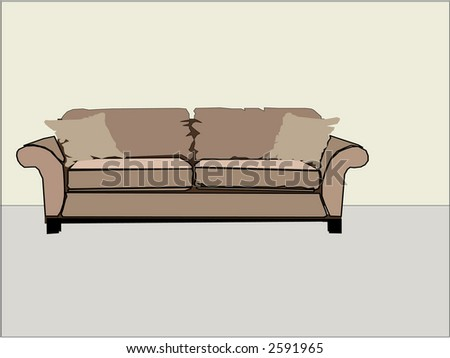 Generic home interior design sofa couch room plain - stock vector