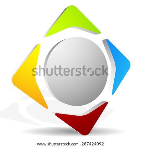 Generic icon with 4-way arrows - stock vector