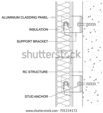 generic line diagram cross section through stock vector