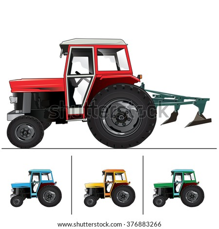 Generic old tractor isolated on white background.Vector, illustration.