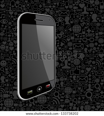 Generic smartphone on black icons background. Vector file layered for easy manipulation and customisation. - stock vector